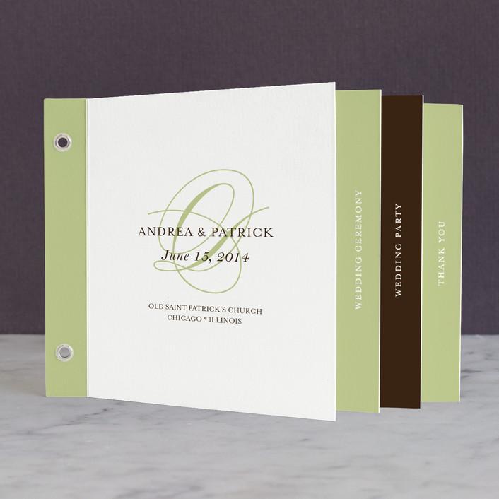 """Initial Script"" - Vintage, Elegant Unique Wedding Programs in Green Tea by annie clark."