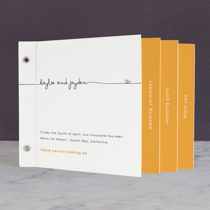 """""""The Happy Couple"""" - Simple, Bold typographic Unique Wedding Programs in Sunset by R studio."""