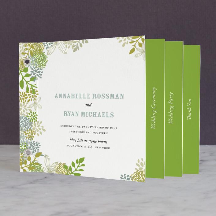 """Fling"" - Rustic, Floral & Botanical Unique Wedding Programs in Clover by Andrea Mentzer."