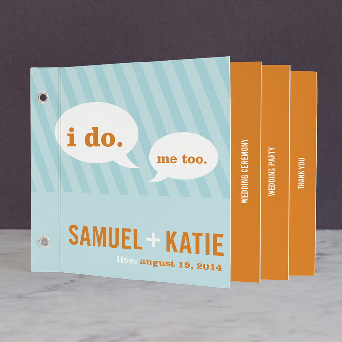 """Smart Conversation"" - Bold typographic, Modern Unique Wedding Programs in Crystal Water by pottsdesign."