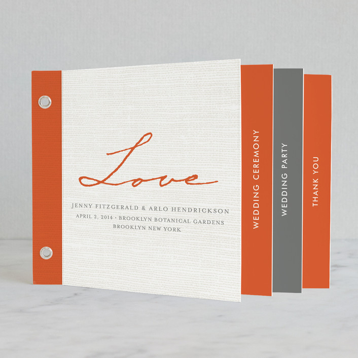 """Simply in Love"" - Modern, Bold typographic Unique Wedding Programs in Orange Brick by j.bartyn."