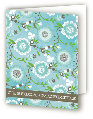Watercolor Vine Folded Personal Stationery