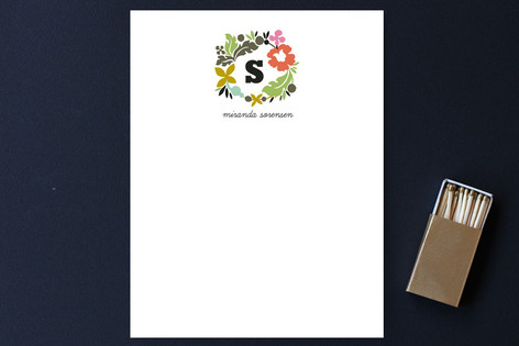 Initial Wreath Personalized Stationery