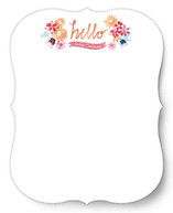 Painted Floral Hello Personalized Stationery