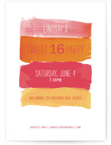 Watercolor Strokes Sweet Sixteen Party Invitations