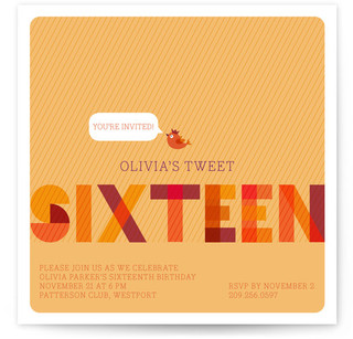 Tweet Sixteen Sweet Sixteen Party Invitations