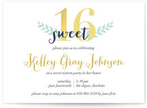 A Golden Sixteenth Sweet Sixteen Party Invitations