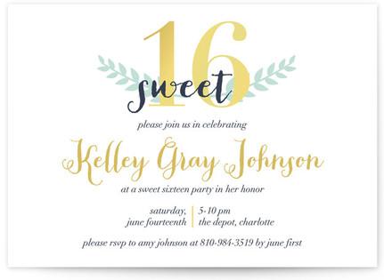 A Golden Sixteenth Sweet Sixteen Party Invitations