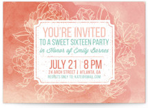 Watercolor Peonies Sweet Sixteen Party Invitations