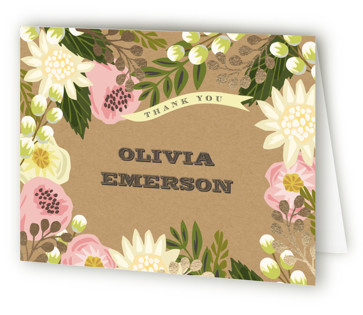 Floral Canopy Foil-Pressed Bridal Shower Thank You Cards