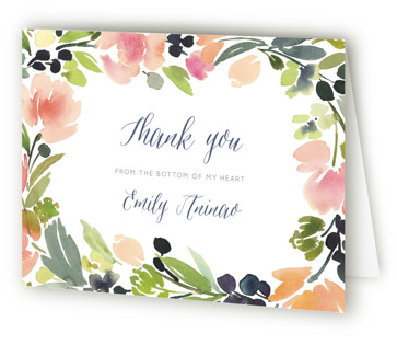 Watercolor Wreath Bridal Shower Thank You Cards
