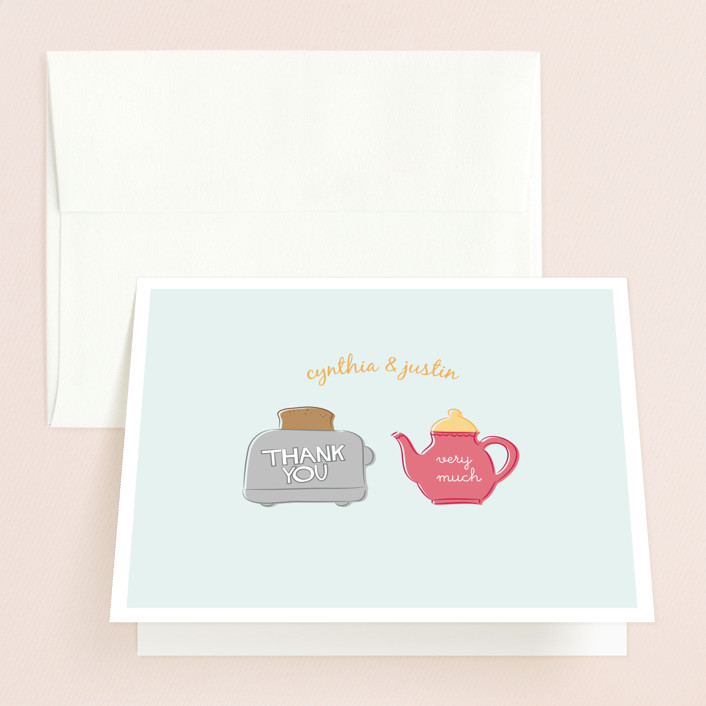 """Toast the Happy Couple"" - Bridal Shower Thank You Cards in blue by Christina Novak."