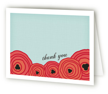 Poppy Flower Bridal Shower Thank You Cards