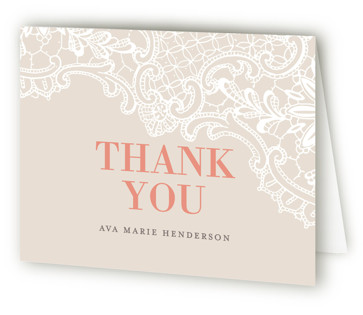 White Lace Bridal Shower Thank You Cards