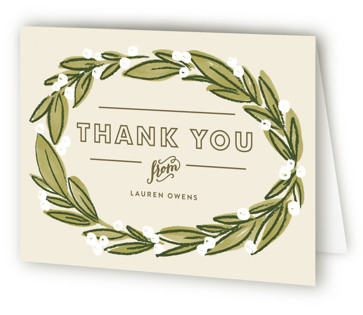 Laurel Wreath Bridal Shower Thank You Cards