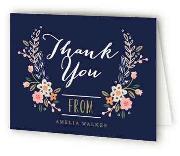 Wildflower Crest Bridal Shower Thank You Cards