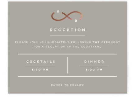 Monogrammed Infinity Foil-Pressed Reception Cards