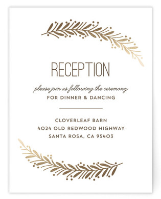 Framed Wreath Foil-Pressed Reception Cards