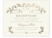 Wedding Bouquet Foil-Pressed Reception Cards