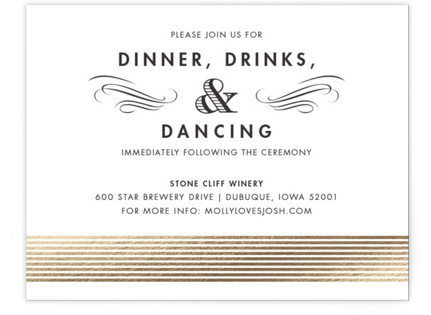 Campaign Style Foil-Pressed Reception Cards
