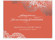 White Lace Foil-Pressed Reception Cards