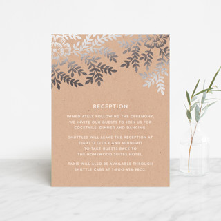 """""""Leaves and Kraft"""" - Rustic, Floral & Botanical Foil-pressed Reception Cards in Warm Kraft by Katharine Watson."""