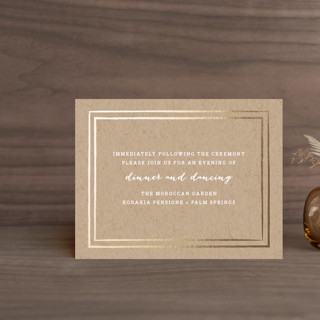 """""""Gold Rush"""" - Whimsical & Funny Foil-pressed Reception Cards in Kraft by annie clark."""