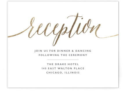A Sparkly Love Foil-Pressed Reception Cards