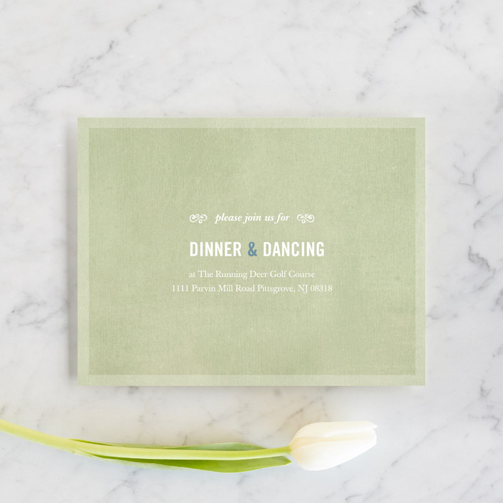 """""""Bouquet D'Amour"""" - Floral & Botanical, Rustic Reception Cards in Pacific Jade by Beth Ann."""