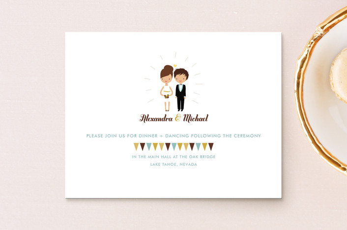 """""""Cake Toppers"""" - Whimsical & Funny Reception Cards in Canary by Zory Mory."""