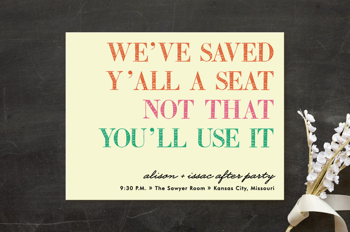 """""""You in or What"""" - Bold typographic, Whimsical & Funny Reception Cards in Bubblegum by hi-lighter inc.."""