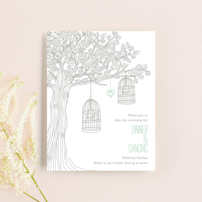 """""""Love Let Loose"""" - Whimsical & Funny, Rustic Reception Cards in Seaglass by Paisley Tree Press."""