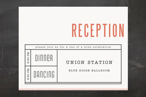 Ticket to Love Reception Cards