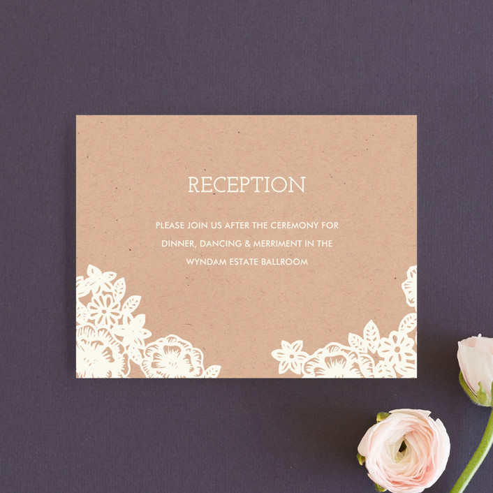 """""""Lace and Kraft"""" - Vintage, Rustic Reception Cards in Kraft by Katharine Watson."""