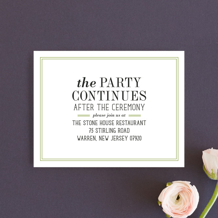 """""""Wed in Type"""" - Modern, Bold typographic Reception Cards in Moss by Ariel Rutland."""