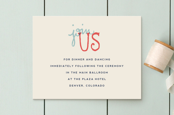 """""""Celebration of Love"""" - Vintage, Bold typographic Reception Cards in Coral by Miranda Lyn."""