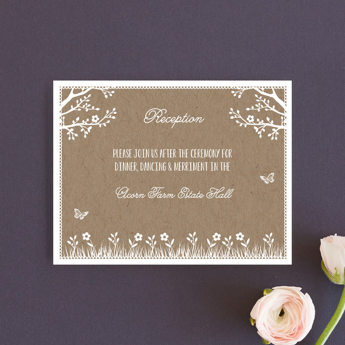 """""""Kraft Woodland Tree"""" - Rustic Reception Cards in Buckwheat by Coco and Ellie Design."""
