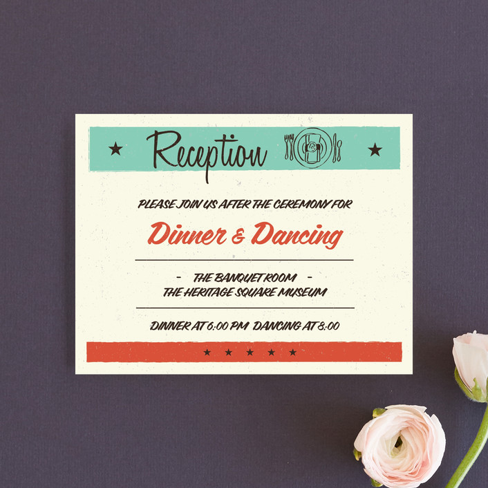 """""""MidCentury Poster Board"""" - Vintage, Whimsical & Funny Reception Cards in Tangerine by Coco and Ellie Design."""