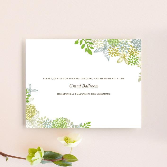 """Fling"" - Floral & Botanical, Rustic Reception Cards in Leaf by Andrea Mentzer."