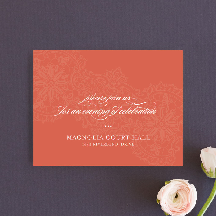 """""""White Lace"""" - Vintage, Elegant Reception Cards in Coral Rose by Lauren Chism."""