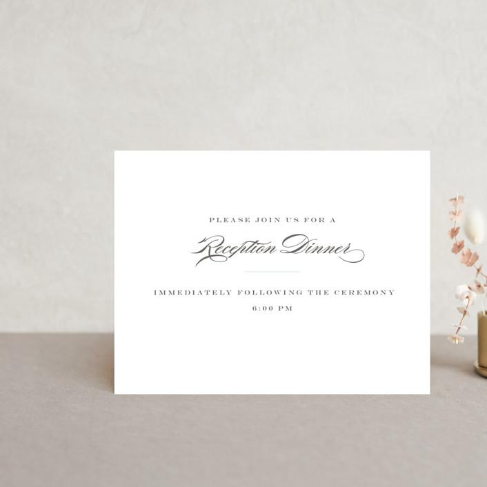 """Charming Go Lightly"" - Monogrammed, Elegant Reception Cards in Sky Blue by danielleb."