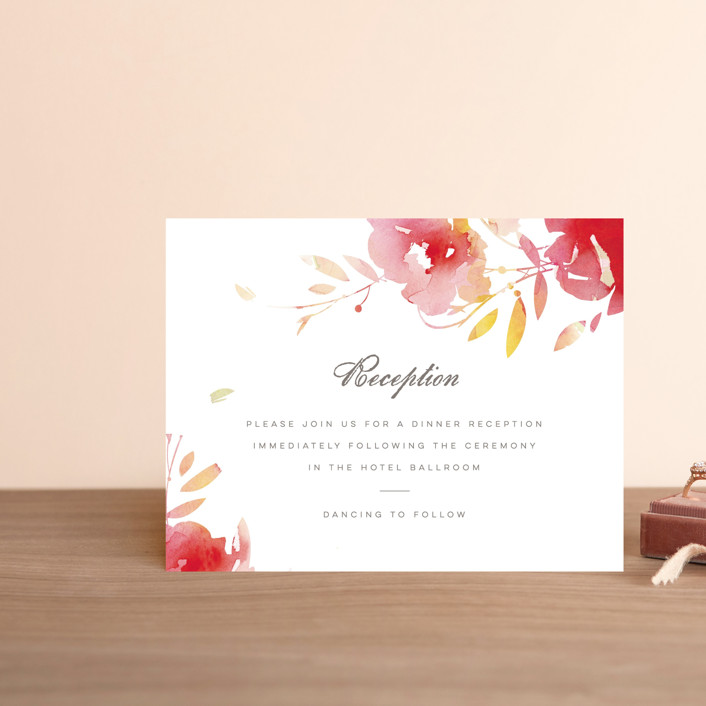 """""""Stately Florals"""" - Floral & Botanical, Modern Reception Cards in Poppy by Lori Wemple."""