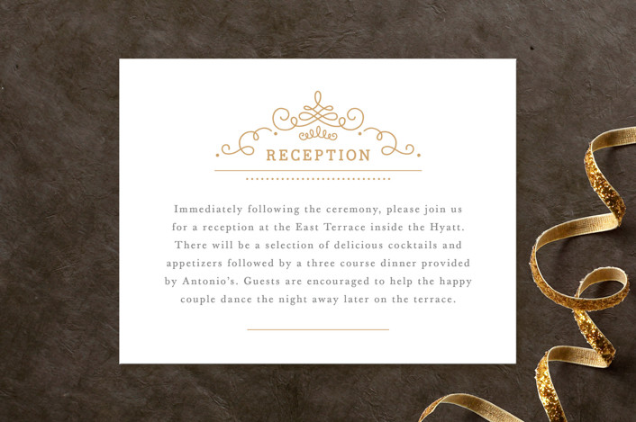 """""""Ornate Monogram"""" - Monogrammed, Formal Reception Cards in Faux Gold by Kristen Smith."""