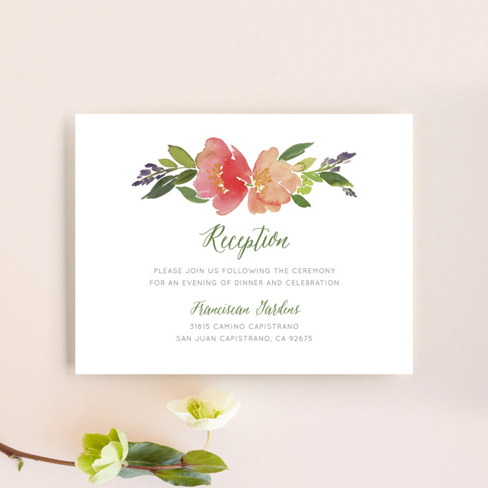 """""""Watercolor Floral"""" - Floral & Botanical Reception Cards in Olive by Yao Cheng."""