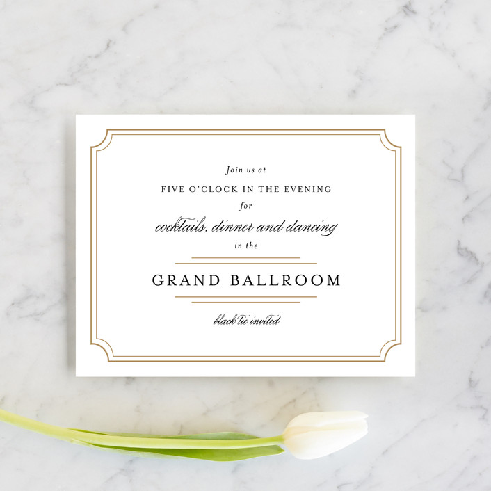 """Classy Type"" - Formal, Elegant Reception Cards in Golden by Kimberly FitzSimons."