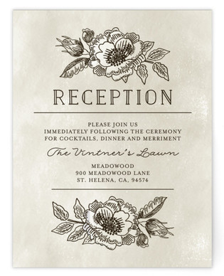 Wedding Etching Reception Cards