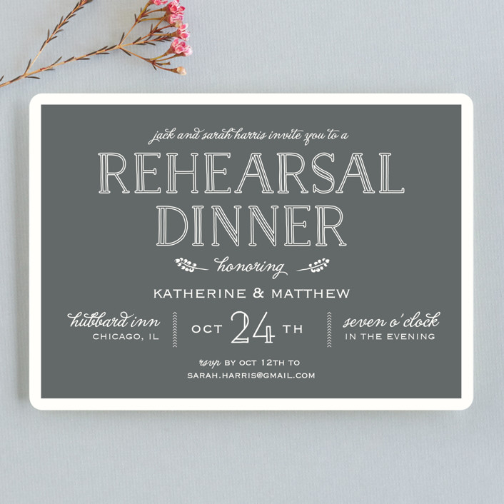 """""""Modern Delineation"""" - Bold typographic Rehearsal Dinner Invitations in Slate by Kaydi Bishop."""