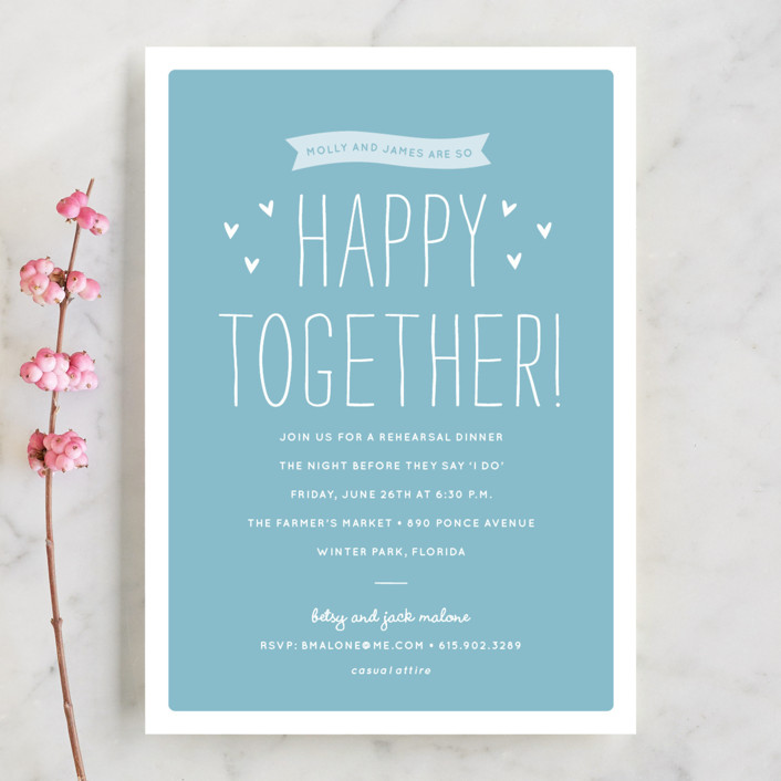 """Happy Together"" - Whimsical & Funny Rehearsal Dinner Invitations in Sky Blue by Sara Hicks Malone."