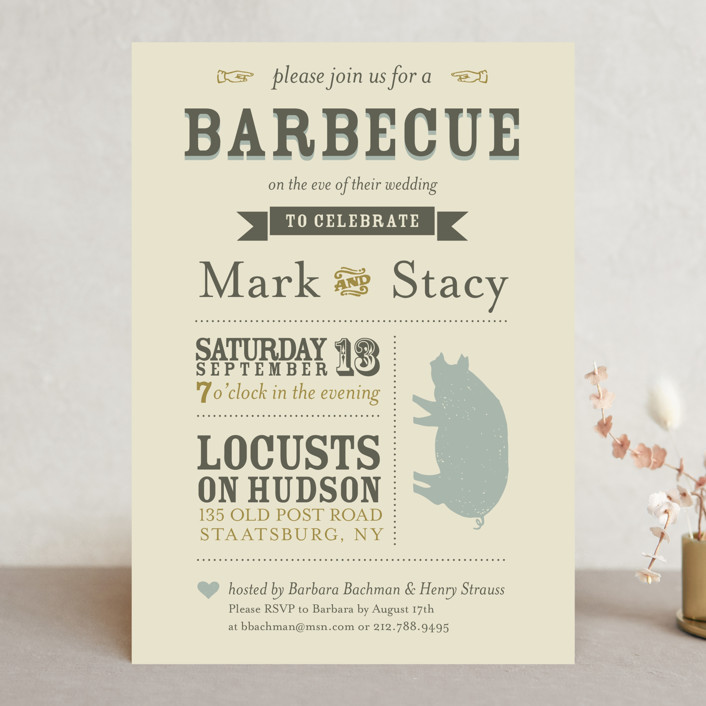 """A Heartfelt Hay Day"" - Vintage Rehearsal Dinner Invitations in Olive by KSH Creative."