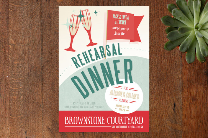 """""""Retro Diner"""" - Vintage Rehearsal Dinner Invitations in Cherry Mint by Shiny Penny Studio."""